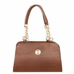 Louise Belgium Plain Ladies Coffee Color PU Leather Shoulder Bag