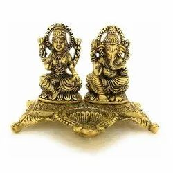 Gold Plated Decorative Laxmi Ganesh Statue For Diwali Pooja & Corporate Gift