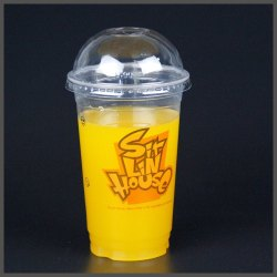 Transparent Printed Disposable Plastic Juice Glass With Lid, 3 Mm