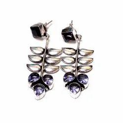 Blue Topaz, Pink Quartz Gemstone Designer Earrings