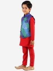 Silk Bandhani Jacket Kurta Pyjama  (6 Months- 14 Years)
