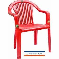 Red Plastic Armrest Chair