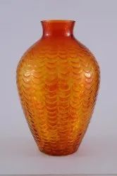 Colored Flower vase with etching