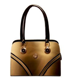 Patteren Ladies Brown And Black Leather Handbag