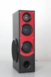 Black & Red Wooden Aparnasonic AS-Royal 06 Tower Multimedia Speaker,, 50W