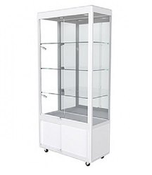 Upright Display Cabinet With LED Lights, Mirror Back And Storage Fully Assembled