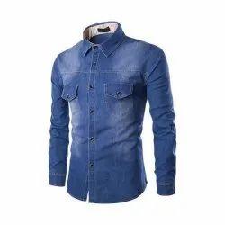 Plain Collar Neck Men Blue Denim Shirt, Size: Medium