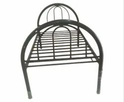 Black Color Coated Stainless Steel Single Bed, For Home, Size: 6x3feet