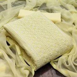 Georget Yellow Ladies Dress Material