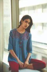 Janasya Women's Blue Cotton Flex Top(J0197)