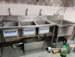 Stainless Steel Three Sink Unit With Grease Trap