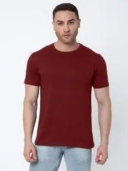Hosiery Plain Maroon Men's Round Neck T-Shirt