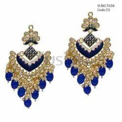 Fusion Arts Kundan Meenakari Fashion Earrings