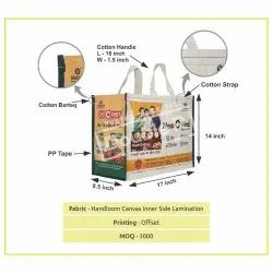 White Handloom Canvas Inner Side Laminated Printed Bags, For Promotional, Size: 17 X 8.5 X 14 Inch