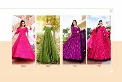 4 Color Muslin Ank Enterprise Long Full Stitched Wedding Wear Gown, Size: Free Size