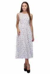 White Printed Ladies Cotton One Piece Dress, Size: Medium