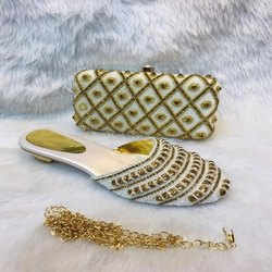 White And Gold European Shoes And Bag For Women And Girl