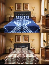 SHIBORI PRINTED COTTON BED SHEET