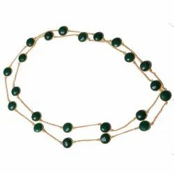 Green Onyx Gemstone Gold Plated Women Necklace