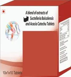 A Blend Of Extracts Of Suctelleria Baicalnsis And Acacia Catechu Tablets