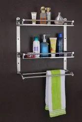 silver Stainless Steel ss double wall shelf, For Bathroom, Size: Regluar
