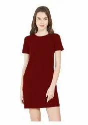Maroon Women T Shirt Dress, 180GSM