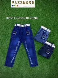 Casual Wear Stretchable Kids Printed Denim Jeans, Size: 20 To 30, Handwash