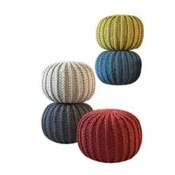 Hand Knitted Round Pouf