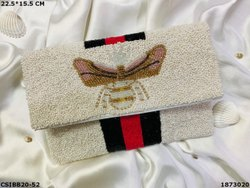 Butterfly Hand Embroidery Designer Beaded Clutch