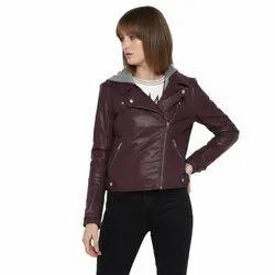 Plain Regular Wear Women Leather Jackets