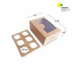 6 Cup Cake Box (Top Window) 9.25 x 6.5 x 4 Inch