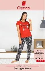 Top And Bottom Pant Printed Women's Hosiery Night Wear Cotton, Age Group: 18-50
