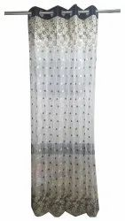 Dot Printed Net Tissue Embroidered Curtain, For Door, Size: 7feet