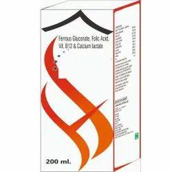 Ferrous Gluconate, Folic Acid, Vitamin B12 & Calcium Lactate Syrup