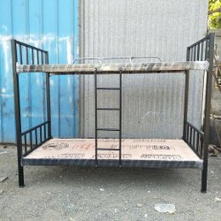 Black Mild Steel MS Bunk Bed, Without Storage, Size: 6x3x6 Ft (lxwxh)
