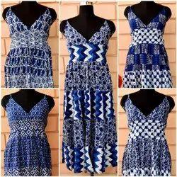 Cotton Printed Indigo Dress