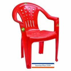 Red Plastic Chair With Armrest