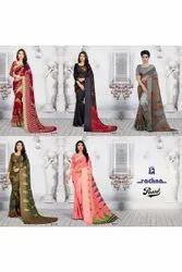 RACHNA Party Wear Printed Saree, 6.3 m (with blouse piece)