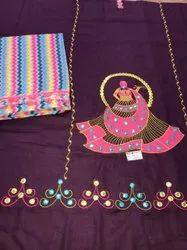 Wine Embroidered Suit With Multicolor Dupatta