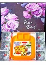 Flower Bunch Plate Bowl Set