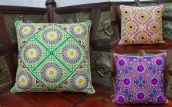 Handmade Aari Embroidered Cushion Cover