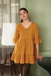 Janasya Women's Mustard Cotton Flex Tunic(J0204)