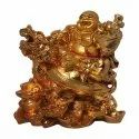 Copper Finished Gold Plated Laughing Buddha Statue