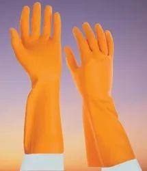Orange Industrial Rubber Hand Gloves