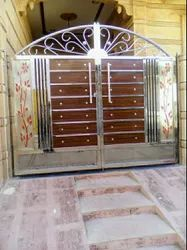 Silver Exterior Stainless Steel Safety Main Gate