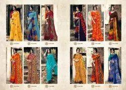 Sanskar Tex Multicolor Khushi K Pal -2 Georgette Printed Casual Wear Saree, With Blouse Piece, 5.5 M (separate Blouse Piece)