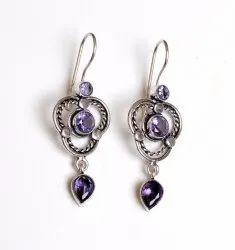 Amethyst Gemstone Silver Plated Girl Earrings