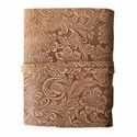 Leather Embossed Journal With Key Handmade Paper Diary Notebook