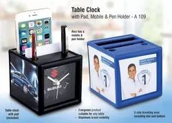 A-109 Promotional Table clock with Pen & Mobile holder
