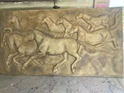 Modern FRP Seven Horse Wall Mural, For Decoration, Size: 11*6'ft